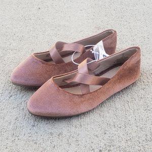 OLD NAVY Girls Dress Velour Shoes Flats Ballerinas